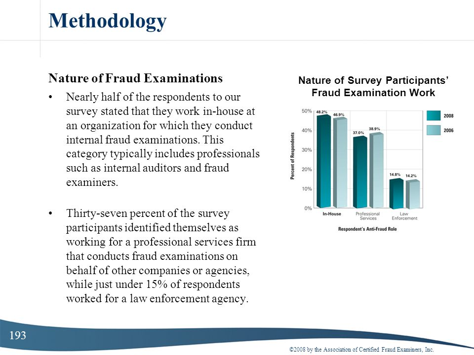 193 Methodology Nature of Fraud Examinations Nearly half of the respondents to our survey stated that they work in-house at an organization for which