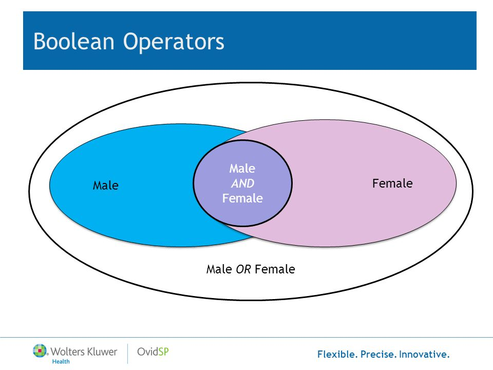 Flexible. Precise. Innovative. Boolean Operators Male Female Male AND Female Male OR Female