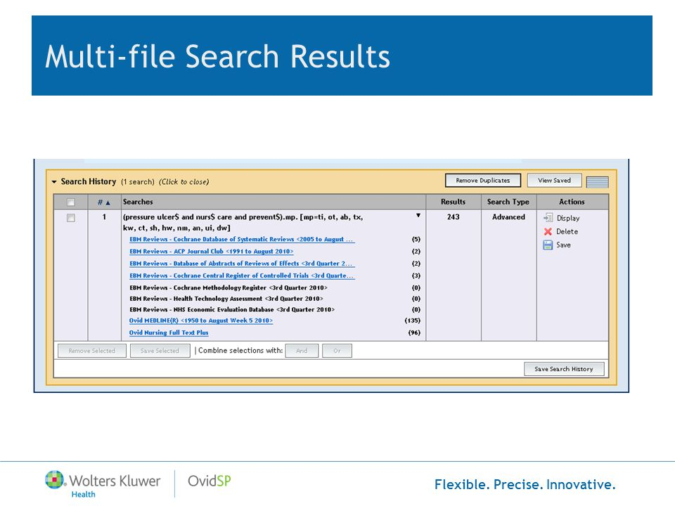 Flexible. Precise. Innovative. Multi-file Search Results