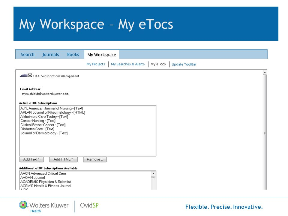 Flexible. Precise. Innovative. My Workspace – My eTocs