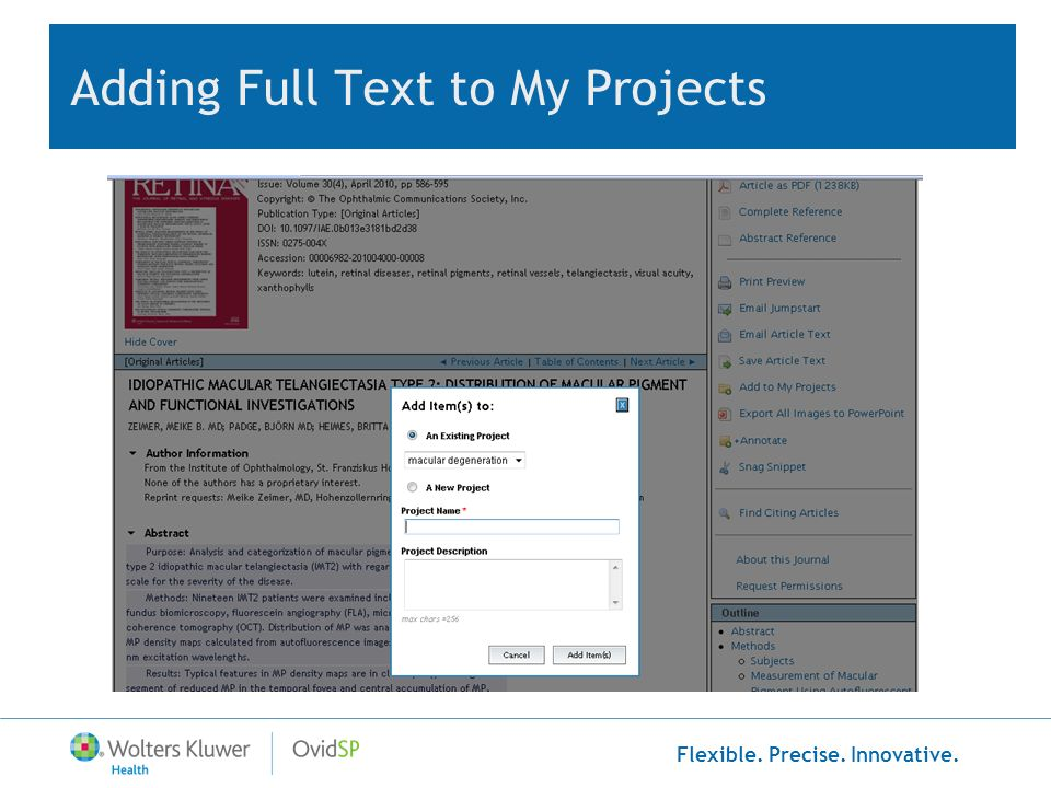 Flexible. Precise. Innovative. Adding Full Text to My Projects