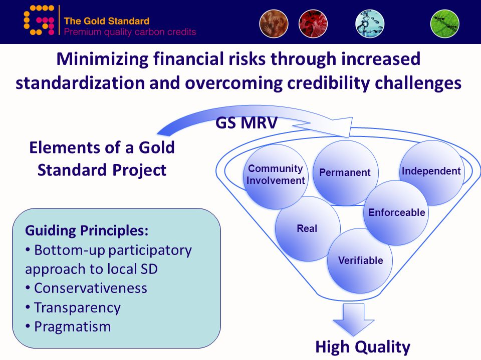 Elements of a Gold Standard Project High Quality Real Permanent Verifiable Enforceable Independent Community Involvement Minimizing financial risks through increased standardization and overcoming credibility challenges Guiding Principles: Bottom-up participatory approach to local SD Conservativeness Transparency Pragmatism GS MRV