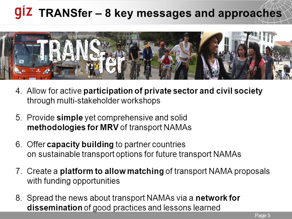 31.01.2014 Seite 5 Page 5 TRANSfer – 8 key messages and approaches 4.