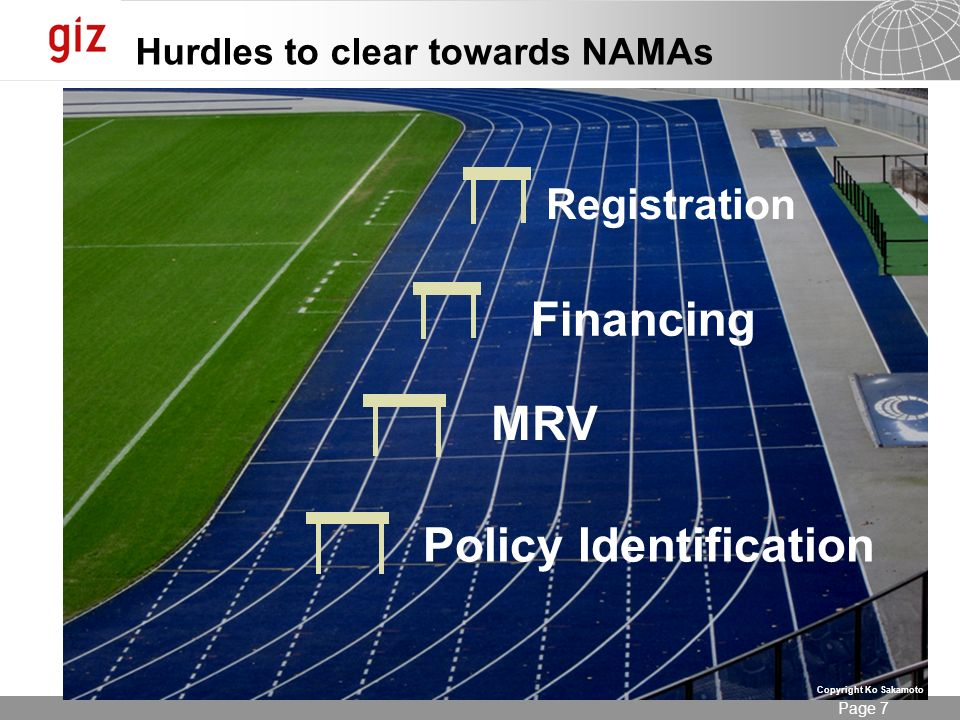 Seite 7 Page 7 Hurdles to clear towards NAMAs Policy Identification MRV Financing Registration Copyright Ko Sakamoto