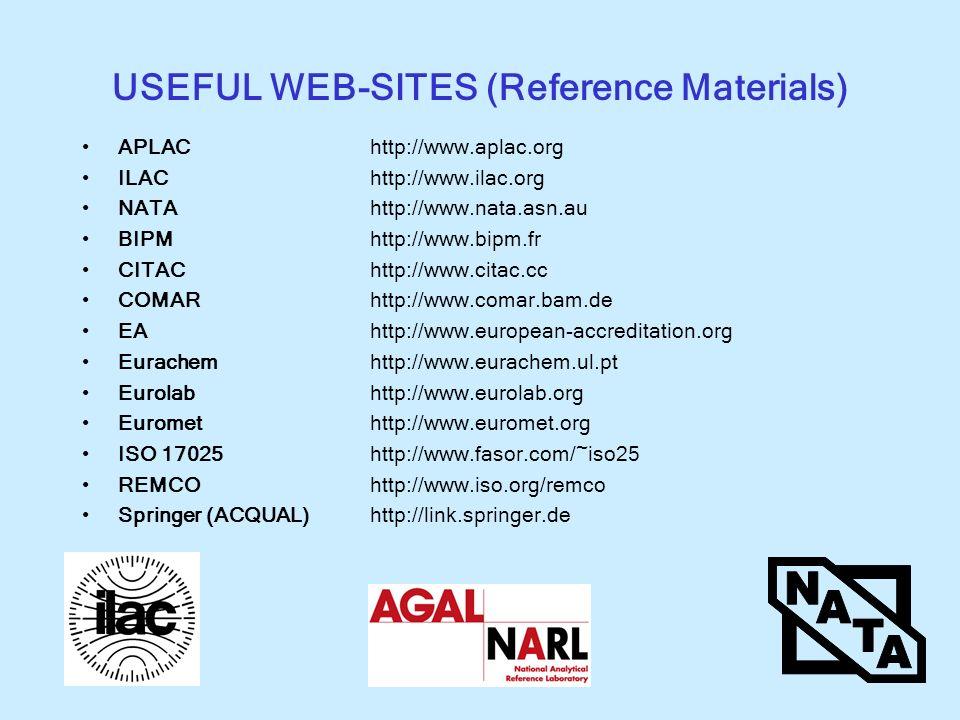 USEFUL WEB-SITES (Reference Materials) APLAChttp://www.aplac.org ILAChttp://www.ilac.org NATAhttp://www.nata.asn.au BIPMhttp://www.bipm.fr CITAChttp:/