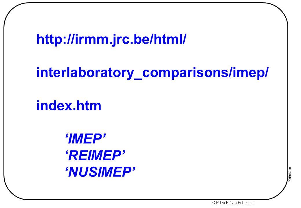© IMEP 2003 2006: 5 th HR Congr Medic Biochem POREC Oct 3 rd Metrol Conf TEL AVIV Nov PDB200340