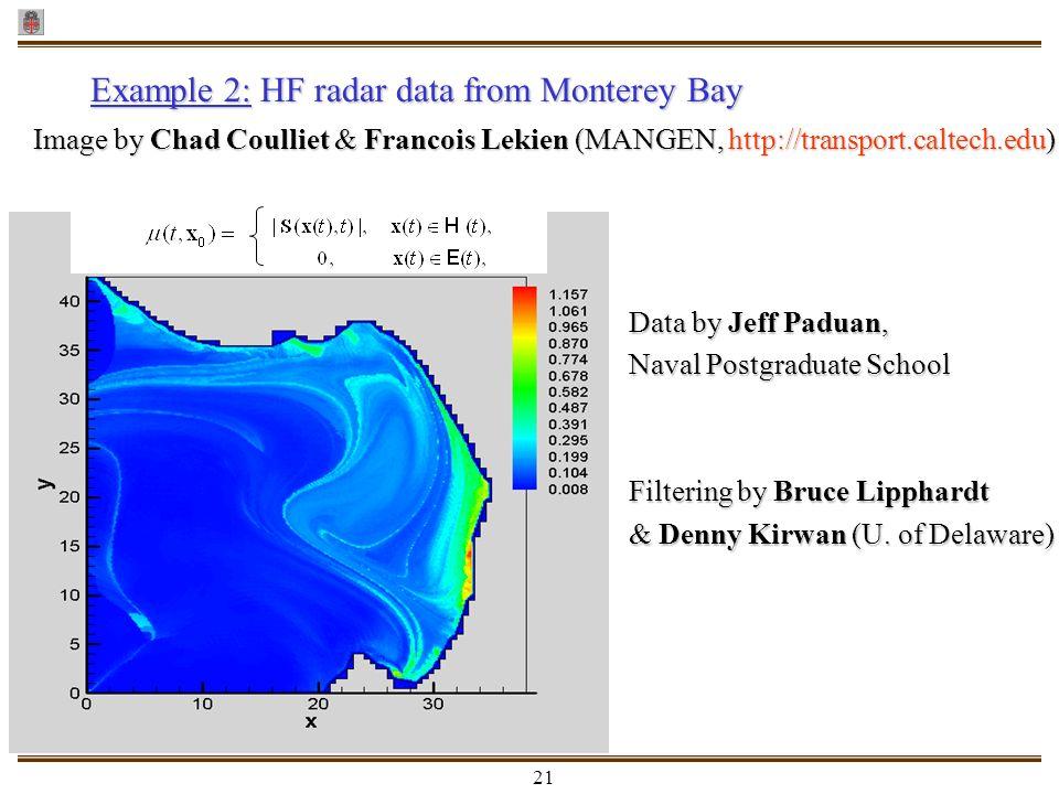 21 Example 2:HF radar data from Monterey Bay Example 2: HF radar data from Monterey Bay Image by Chad Coulliet & Francois Lekien (MANGEN, http://trans