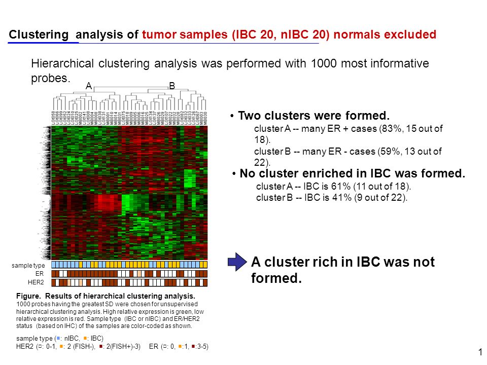 1 Clustering analysis of tumor samples (IBC 20, nIBC 20) normals excluded sample type ER HER2 AB Figure.
