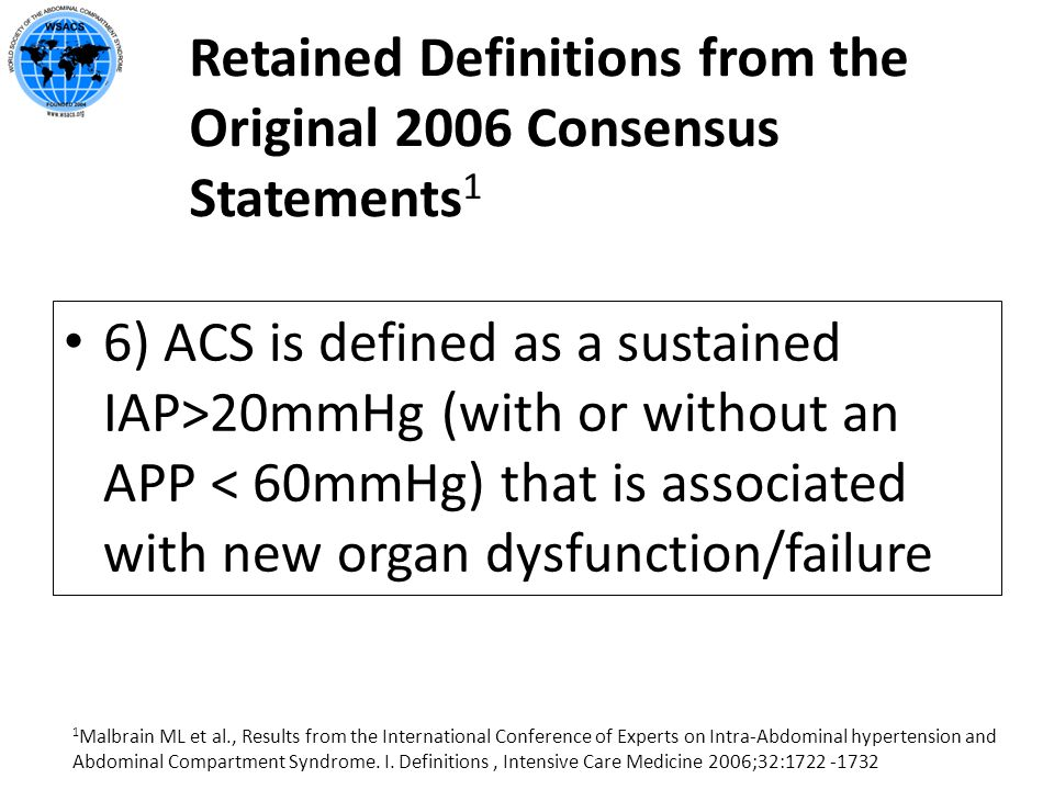 Retained Definitions from the Original 2006 Consensus Statements 1 6) ACS is defined as a sustained IAP>20mmHg (with or without an APP < 60mmHg) that
