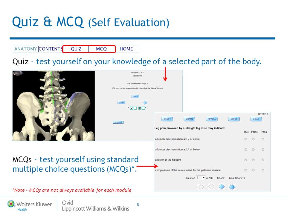 8 Quiz & MCQ (Self Evaluation) Quiz - test yourself on your knowledge of a selected part of the body. MCQs - test yourself using standard multiple cho