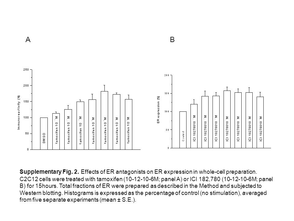 Supplementary Fig. 2. Effects of ER antagonists on ER expression in whole-cell preparation. C2C12 cells were treated with tamoxifen (10-12-10-6M; pane