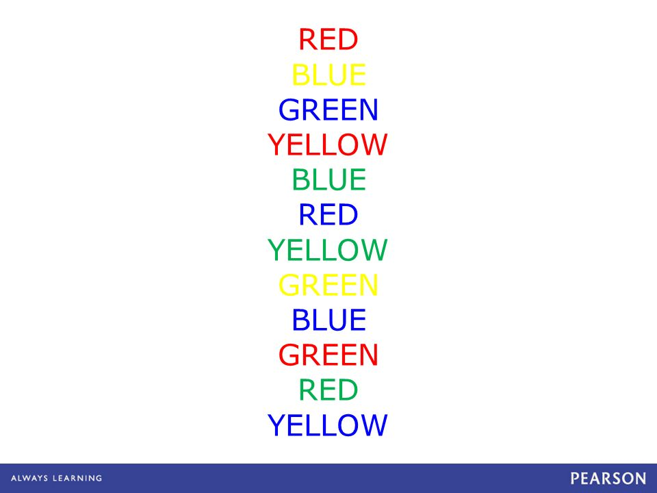 RED BLUE GREEN YELLOW BLUE RED YELLOW GREEN BLUE GREEN RED YELLOW