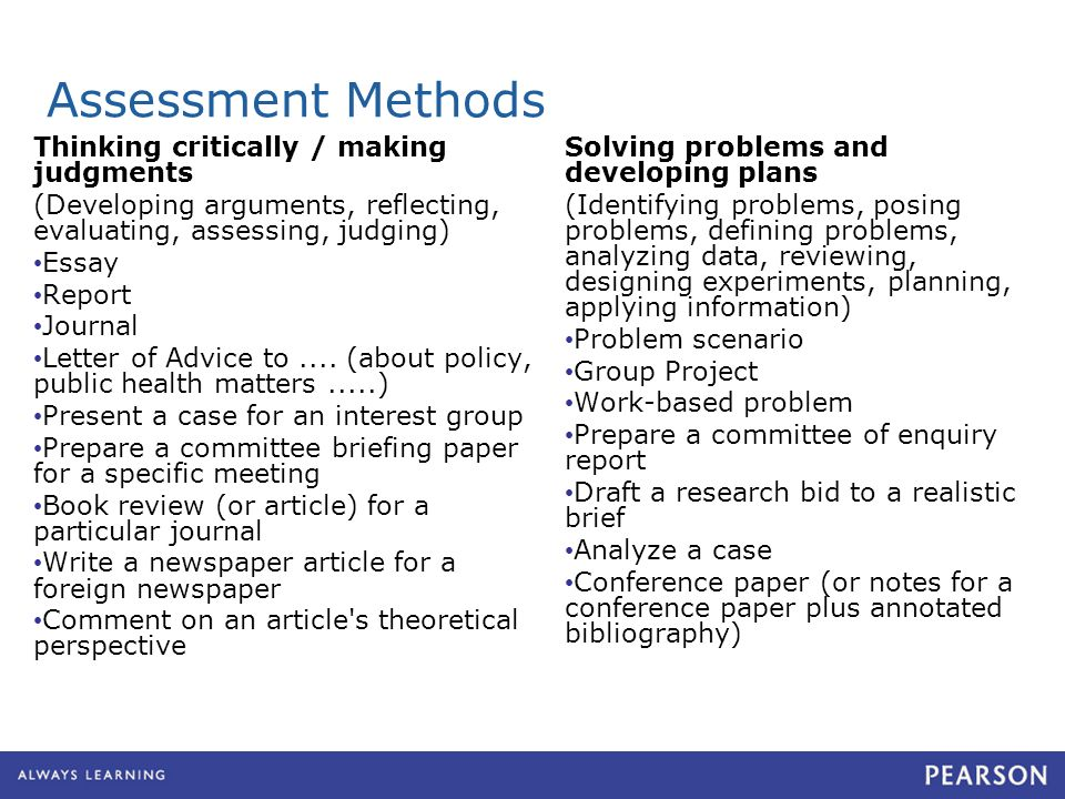 Assessment Methods Thinking critically / making judgments (Developing arguments, reflecting, evaluating, assessing, judging) Essay Report Journal Letter of Advice to....