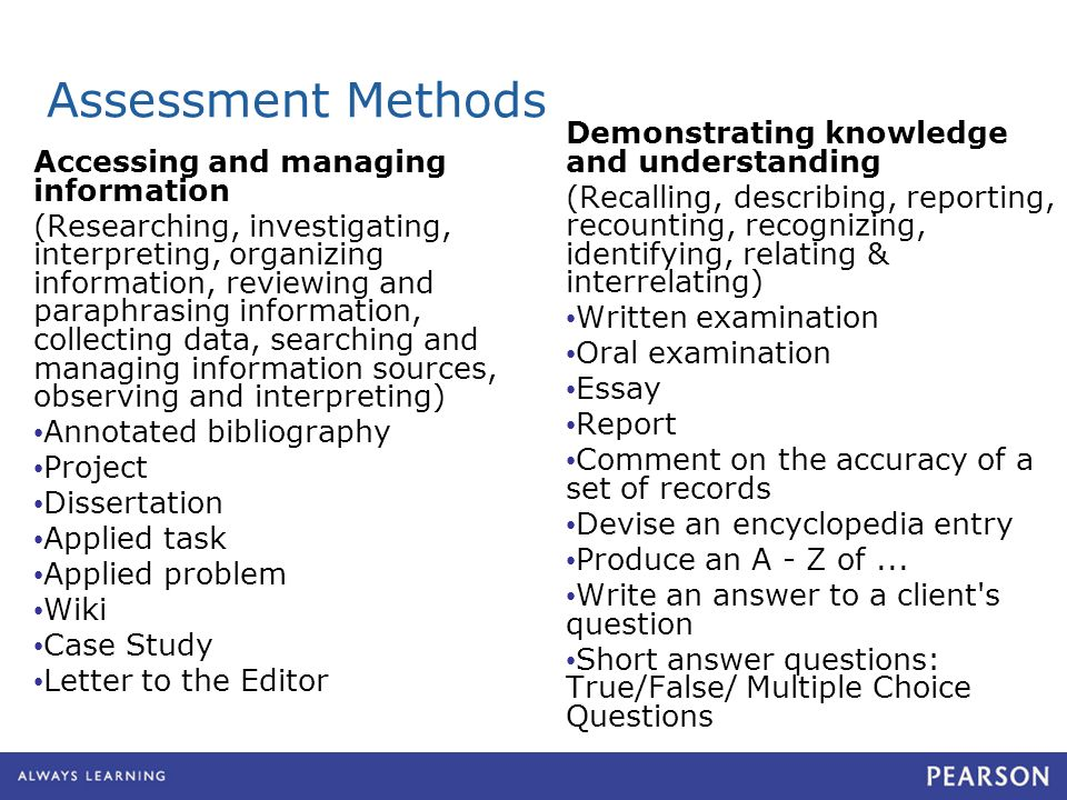 Assessment Methods Accessing and managing information (Researching, investigating, interpreting, organizing information, reviewing and paraphrasing in