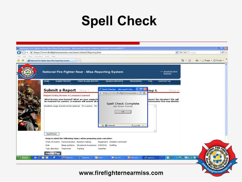 Spell Check www.firefighternearmiss.com
