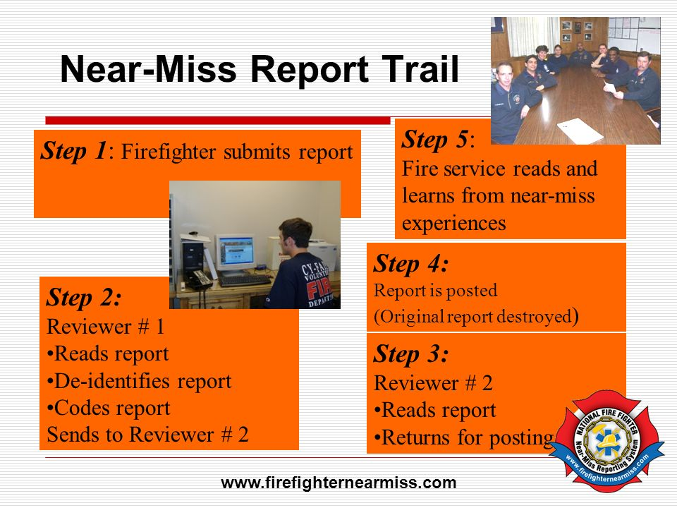 Near-Miss Report Trail Step 1: Firefighter submits report Step 2: Reviewer # 1 Reads report De-identifies report Codes report Sends to Reviewer # 2 St