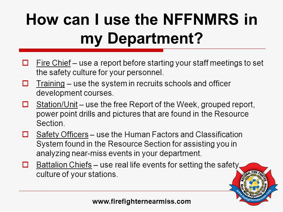 How can I use the NFFNMRS in my Department.