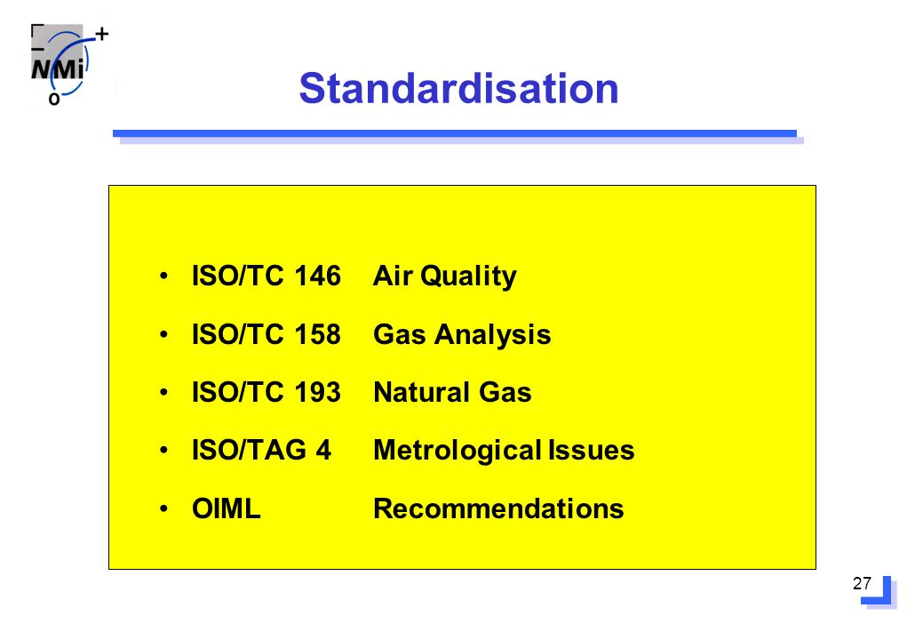 27 Standardisation ISO/TC 146Air Quality ISO/TC 158Gas Analysis ISO/TC 193Natural Gas ISO/TAG 4Metrological Issues OIML Recommendations