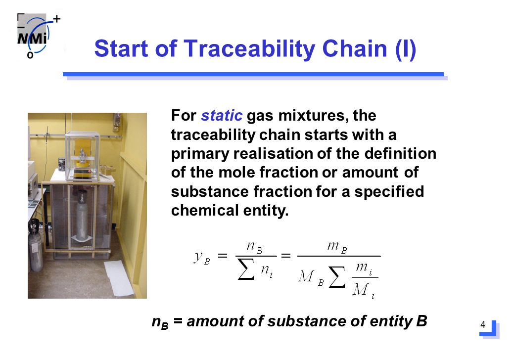 4 Start of Traceability Chain (I) For static gas mixtures, the traceability chain starts with a primary realisation of the definition of the mole fraction or amount of substance fraction for a specified chemical entity.