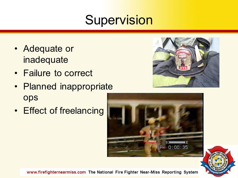 www.firefighternearmiss.com The National Fire Fighter Near-Miss Reporting System Supervision Adequate or inadequate Failure to correct Planned inappro