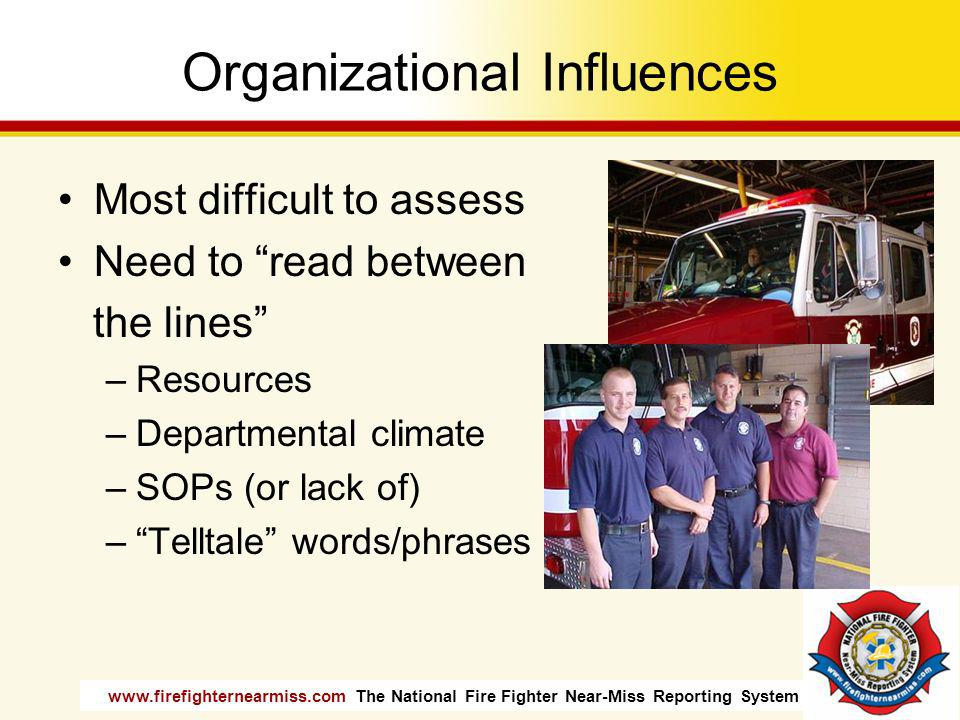 www.firefighternearmiss.com The National Fire Fighter Near-Miss Reporting System Organizational Influences Most difficult to assess Need to read betwe
