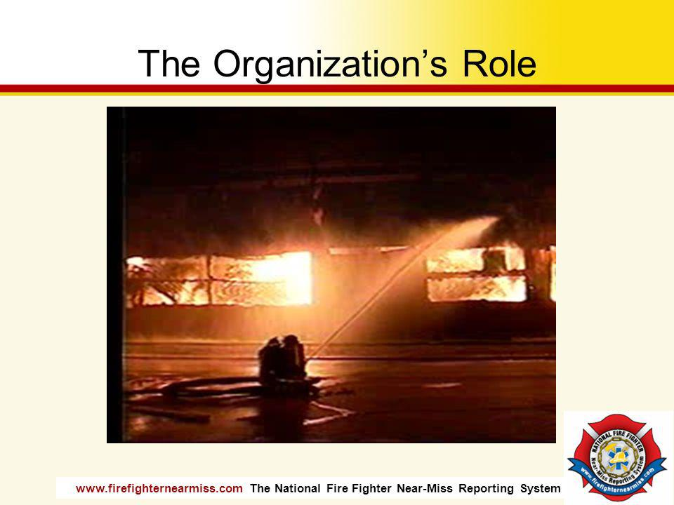 www.firefighternearmiss.com The National Fire Fighter Near-Miss Reporting System The Organizations Role