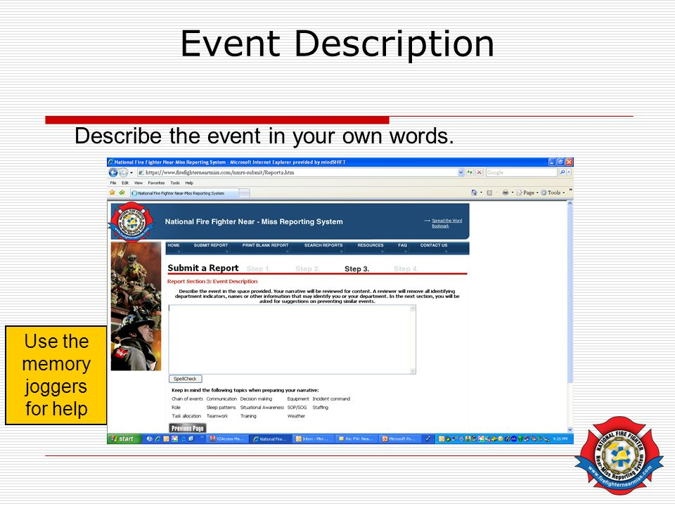 Event Description Describe the event in your own words. Use the memory joggers for help