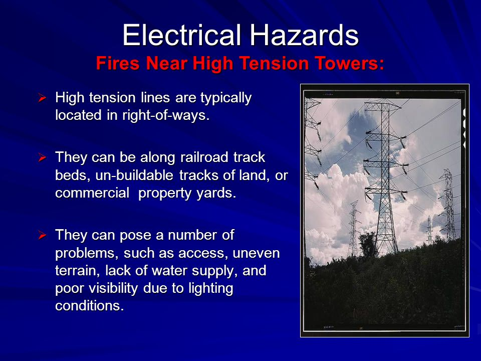 High tension lines are typically located in right-of-ways. High tension lines are typically located in right-of-ways. They can be along railroad track