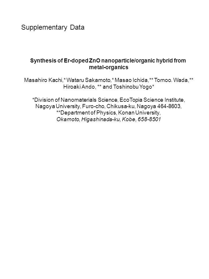 Synthesis of Er-doped ZnO nanoparticle/organic hybrid from metal-organics Masahiro Kachi,* Wataru Sakamoto,* Masao Ichida,** Tomoo.