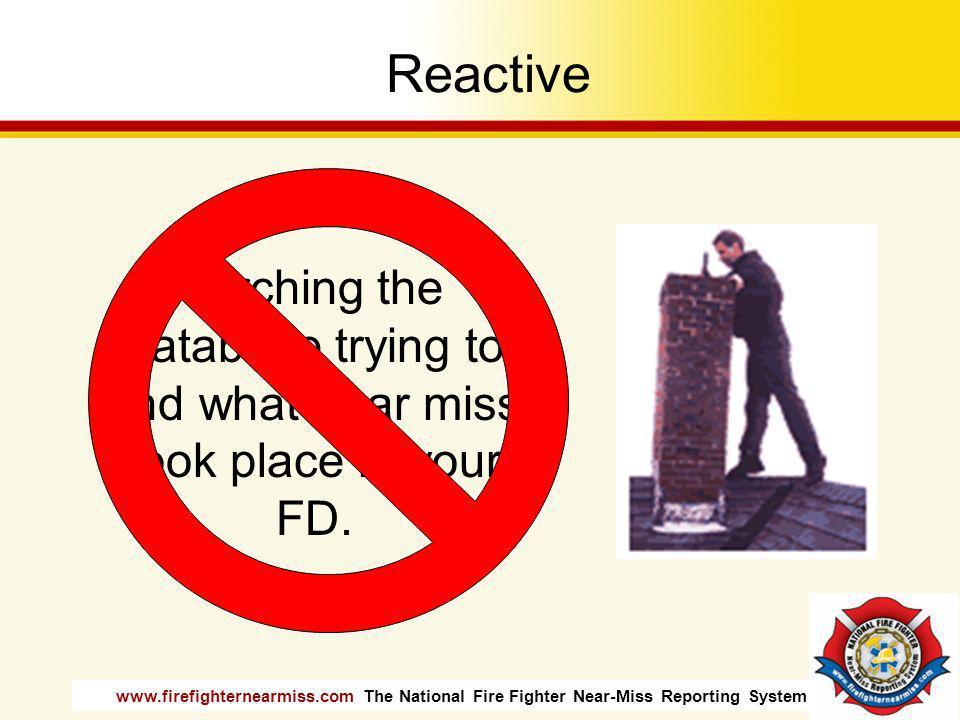 www.firefighternearmiss.com The National Fire Fighter Near-Miss Reporting System Reactive Searching the database trying to find what near miss took pl