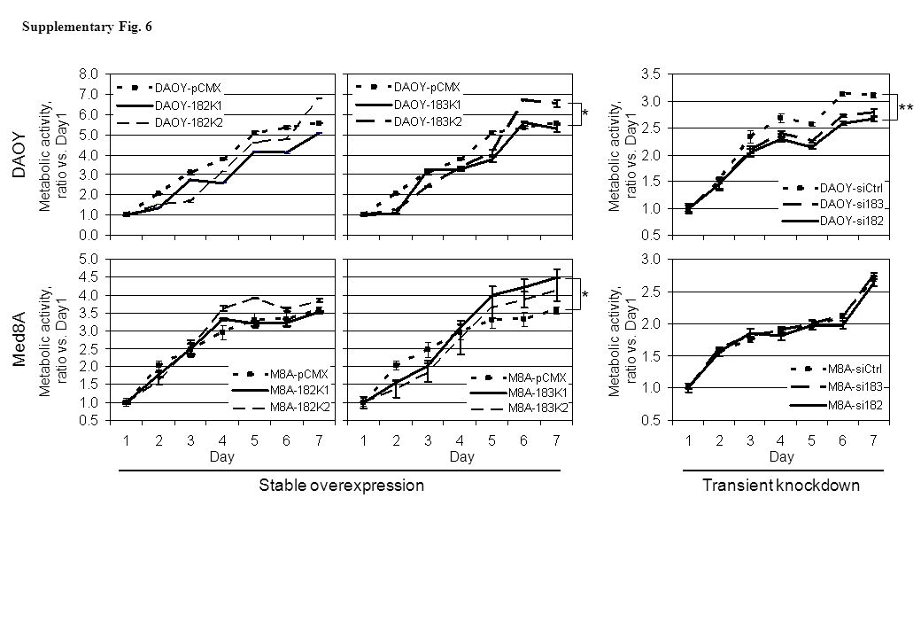 Transient knockdown Day Metabolic activity, ratio vs.