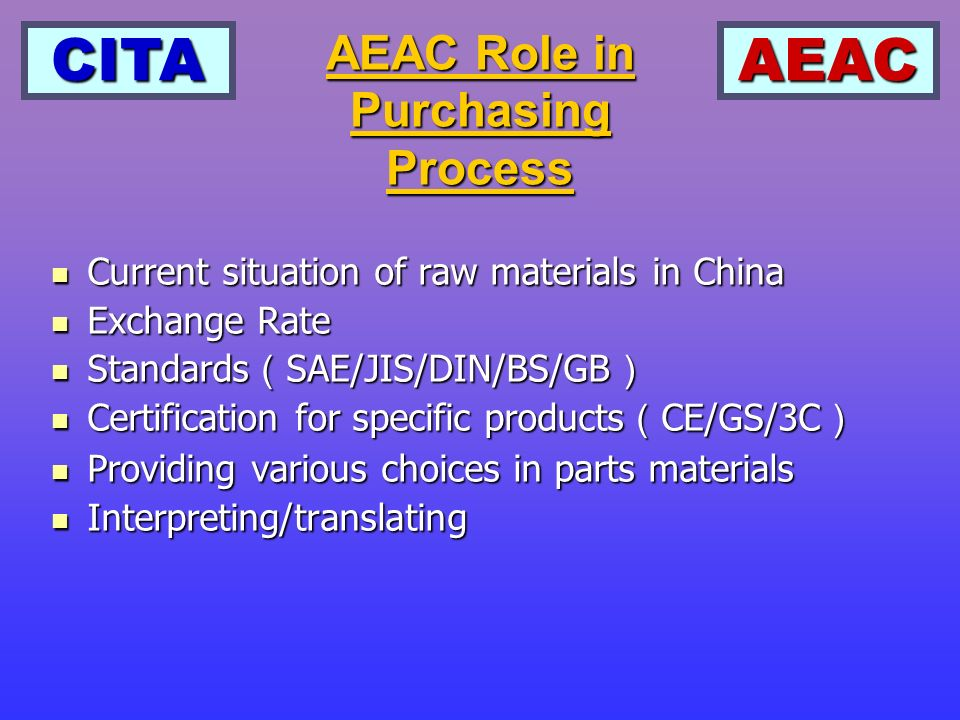 CITAAEAC Current situation of raw materials in China Current situation of raw materials in China Exchange Rate Exchange Rate Standards SAE/JIS/DIN/BS/