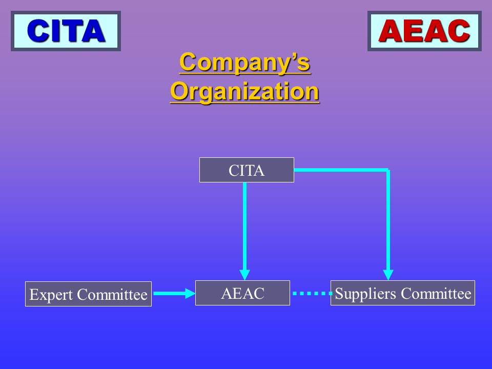CITAAEAC Companys Organization, Continued CITA CITA Full Name: Powered Industrial Truck Institution of Chinese Construction Machinery Association Full Name: Powered Industrial Truck Institution of Chinese Construction Machinery Association Oversees the industry Oversees the industry Membership includes all domestic fork lift truck manufacturers Membership includes all domestic fork lift truck manufacturers Membership also includes most of the parts suppliers, testing institutes, quality control institutes, and design institutes Membership also includes most of the parts suppliers, testing institutes, quality control institutes, and design institutes Facilitating between domestic and oversees companies Facilitating between domestic and oversees companies