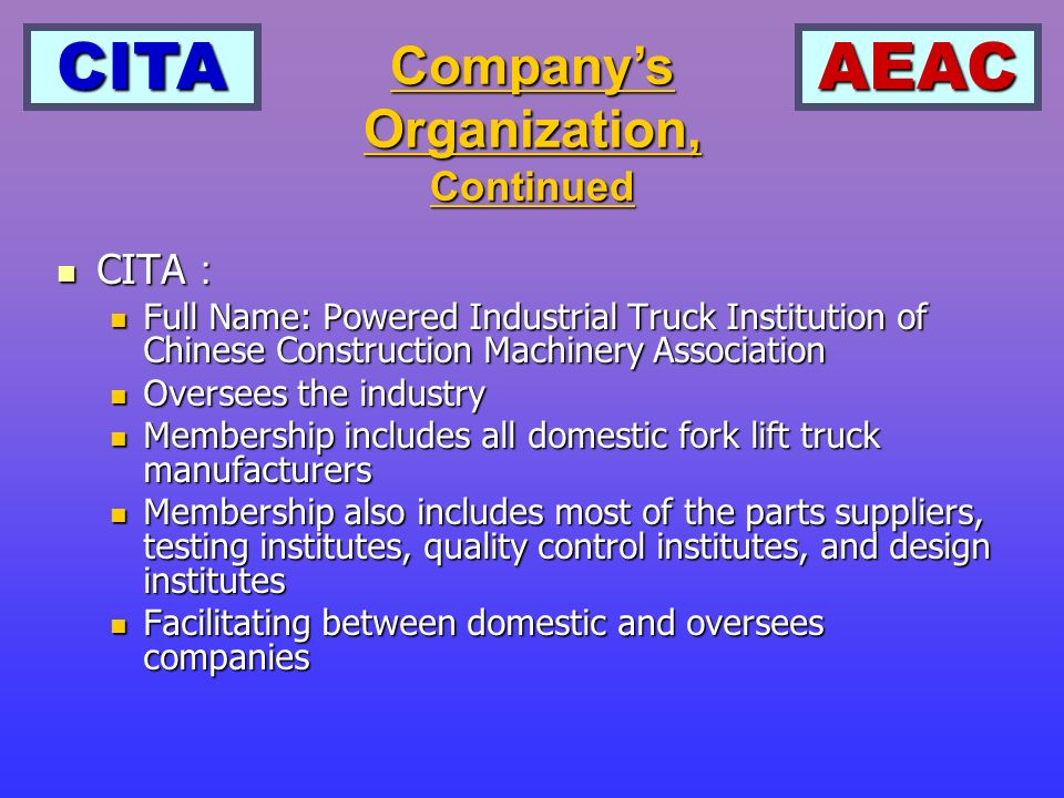CITAAEAC Companys Organization, Continued CITA CITA Full Name: Powered Industrial Truck Institution of Chinese Construction Machinery Association Full