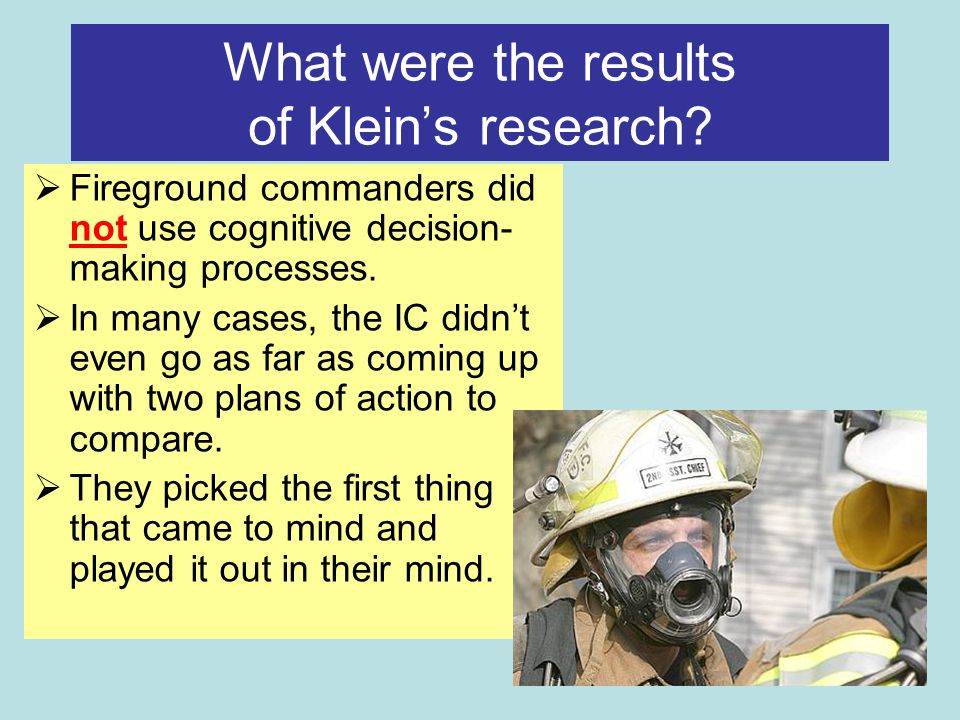 What were the results of Kleins research.