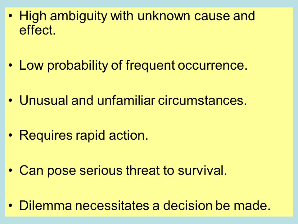 High ambiguity with unknown cause and effect. Low probability of frequent occurrence. Unusual and unfamiliar circumstances. Requires rapid action. Can