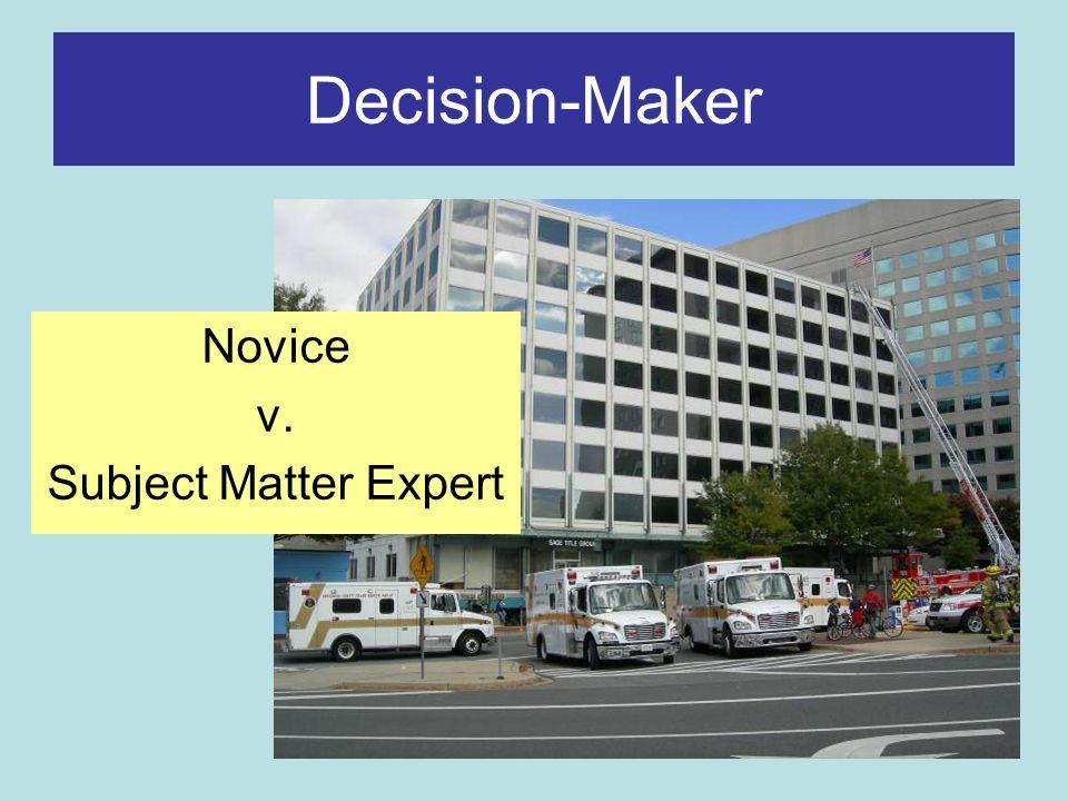 Decision-Maker Novice v. Subject Matter Expert