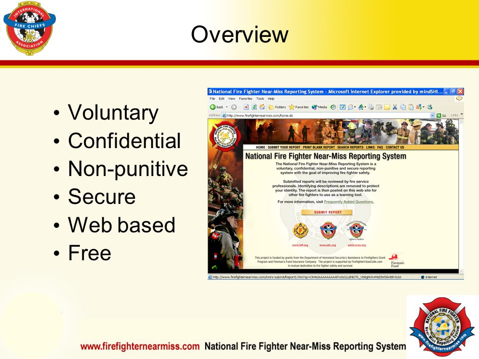 IAFF Instructor Development Conference October 1-4, 2006 Las Vegas, NV Overview Voluntary Confidential Non-punitive Secure Web based Free