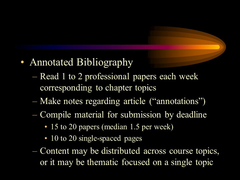 Annotated Bibliography –Read 1 to 2 professional papers each week corresponding to chapter topics –Make notes regarding article (annotations) –Compile