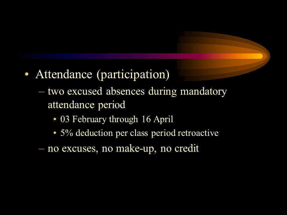 Attendance (participation) –two excused absences during mandatory attendance period 03 February through 16 April 5% deduction per class period retroac