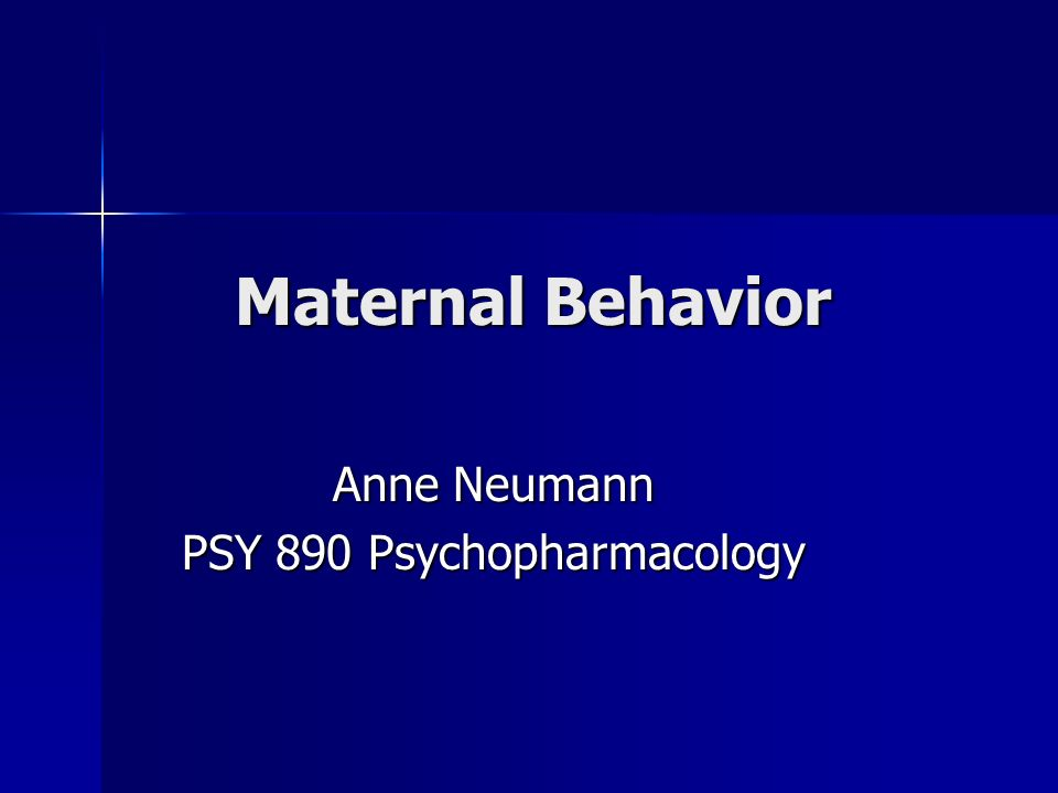 Maternal Behavior Anne Neumann PSY 890 Psychopharmacology
