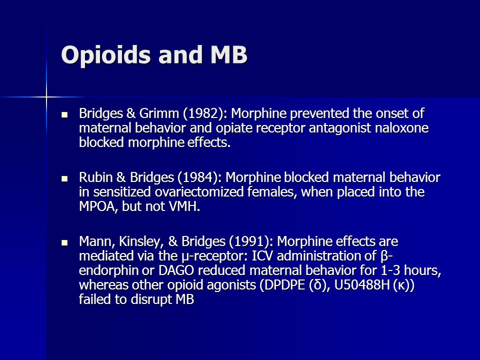 Opioids and MB Bridges & Grimm (1982): Morphine prevented the onset of maternal behavior and opiate receptor antagonist naloxone blocked morphine effects.