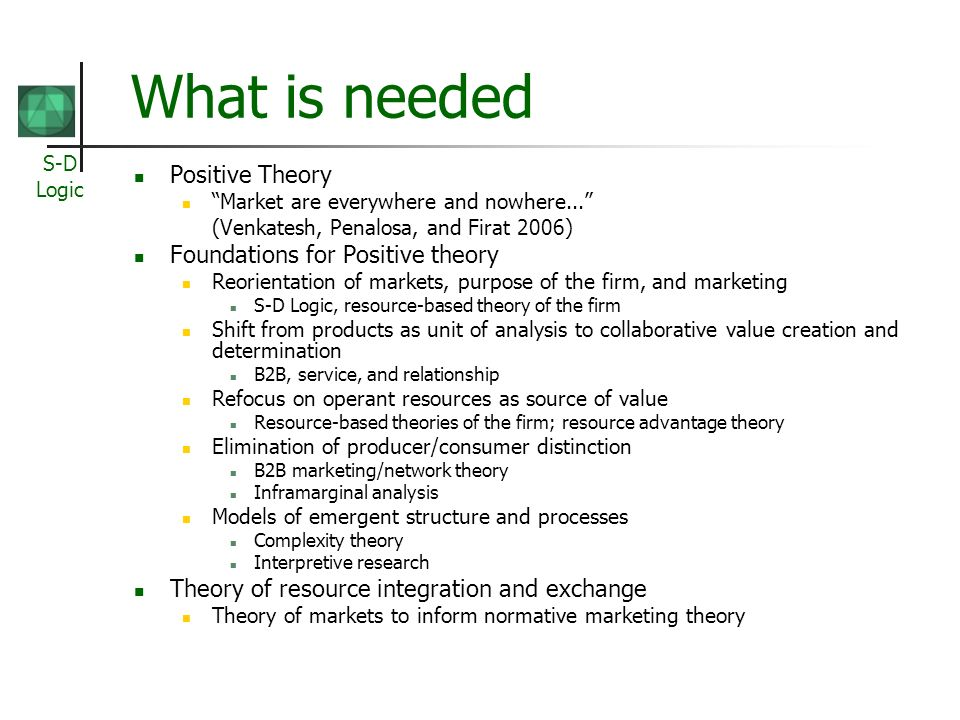 S-D Logic What is needed Positive Theory Market are everywhere and nowhere... (Venkatesh, Penalosa, and Firat 2006) Foundations for Positive theory Re
