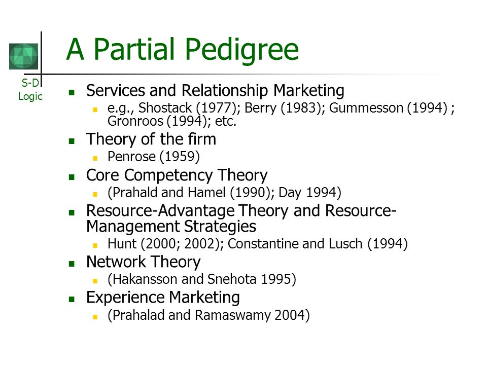 S-D Logic A Partial Pedigree Services and Relationship Marketing e.g., Shostack (1977); Berry (1983); Gummesson (1994) ; Gronroos (1994); etc. Theory