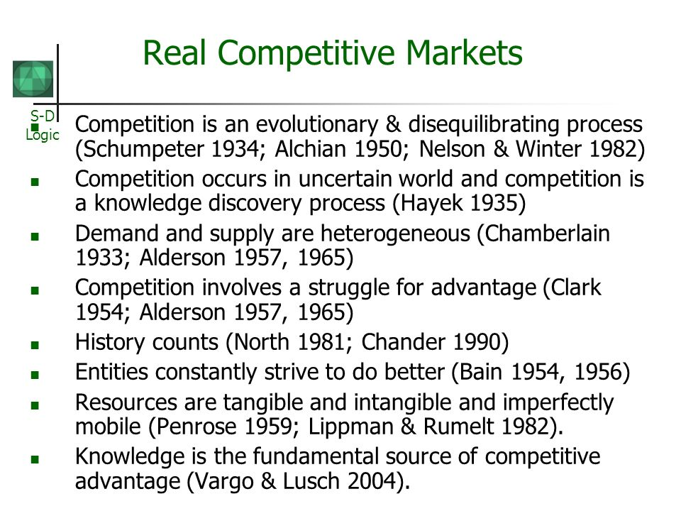 S-D Logic Real Competitive Markets Competition is an evolutionary & disequilibrating process (Schumpeter 1934; Alchian 1950; Nelson & Winter 1982) Com