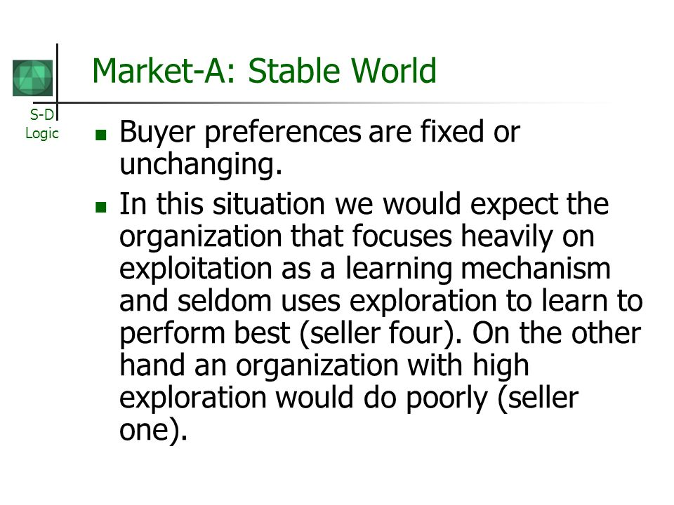 S-D Logic Market-A: Stable World Buyer preferences are fixed or unchanging. In this situation we would expect the organization that focuses heavily on
