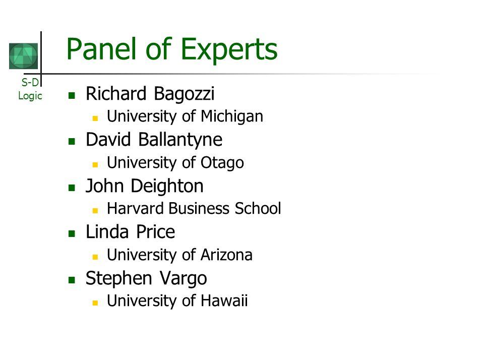 S-D Logic Panel of Experts Richard Bagozzi University of Michigan David Ballantyne University of Otago John Deighton Harvard Business School Linda Price University of Arizona Stephen Vargo University of Hawaii