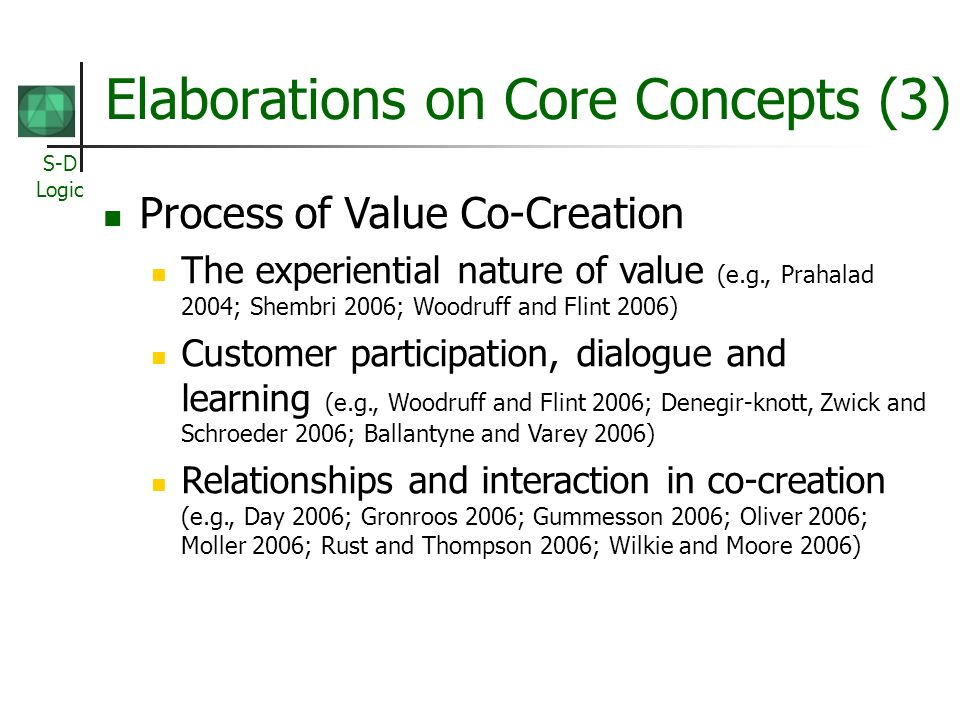 S-D Logic Elaborations on Core Concepts (3) Process of Value Co-Creation The experiential nature of value (e.g., Prahalad 2004; Shembri 2006; Woodruff