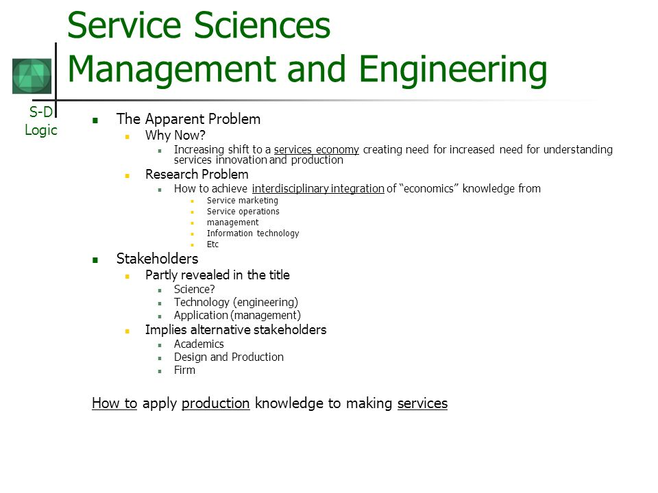 S-D Logic Service Science for Service Systems The Meta Problem.