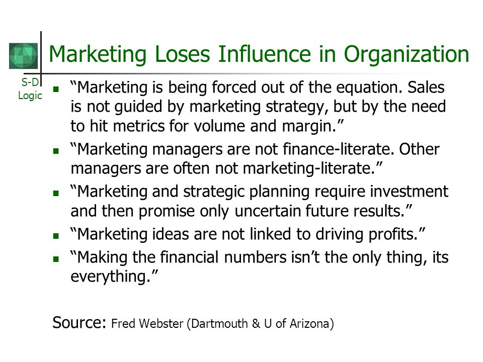 S-D Logic Marketing Loses Influence in Organization Marketing is being forced out of the equation.
